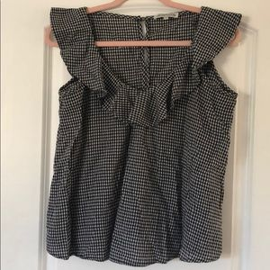 Button back gingham top